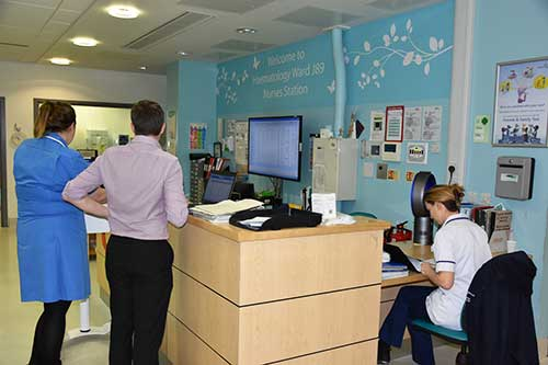 Reception desk in hospital ward